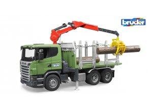 Zelené AUTO SCANIA R přeprava dřeva značky Bruder - BR 03524