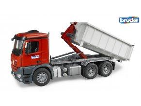 Červeno šedá SKLÁPĚČKA-kontejner  MB-AROCS značky Bruder - BR 03622