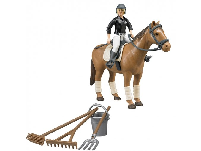 BRUDER 62505 Bworld Jezdecký set - kůň, žena a příslušenství