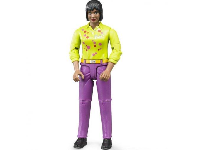 BRUDER 60403 Bworld žena snědá pleť, fialové kalhoty