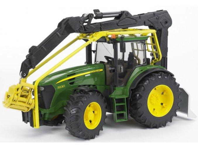 BRUDER 3053 Traktor John Deere 7930 s ramenem a navijákem
