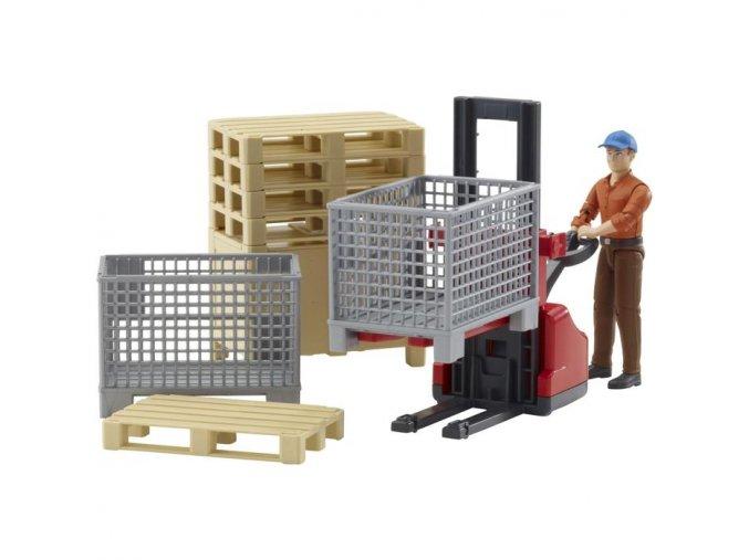 BRUDER 62200 Bworld Logistický set a figurka