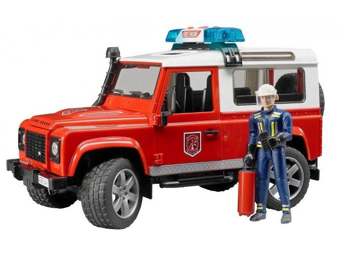 BRUDER 2596 Land Rover Defender Hasiči s figurkou hasiče