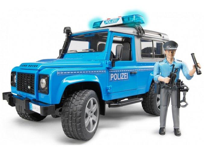 BRUDER 2597 Land Rover Defender Policie s figurkou policisty