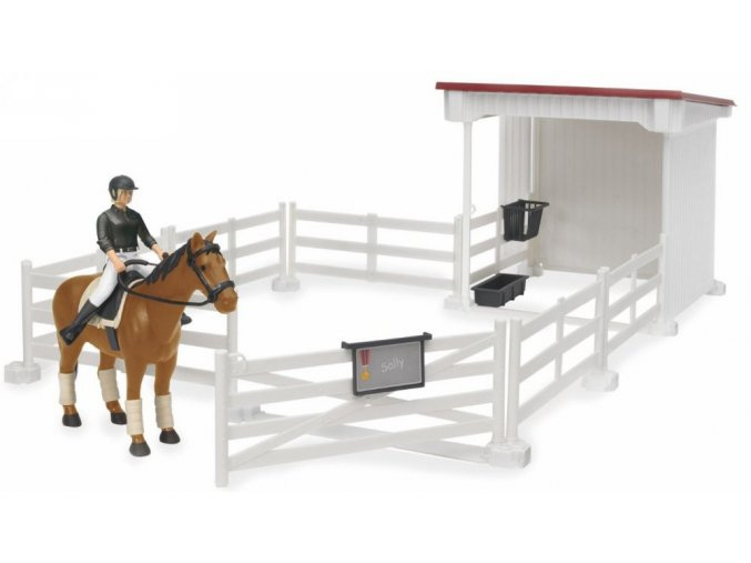 BRUDER 62521 Bworld Ohrada bílá + stáj + kůň + figurka ženy
