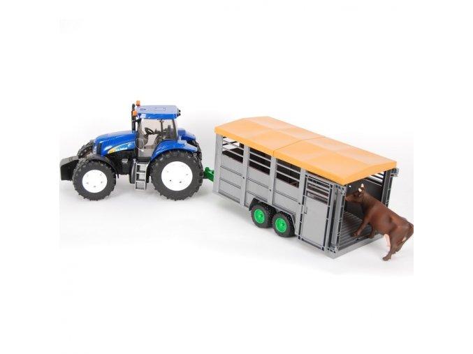 Bruder 1695 Traktor New Holland T8040 s privesem na kravy