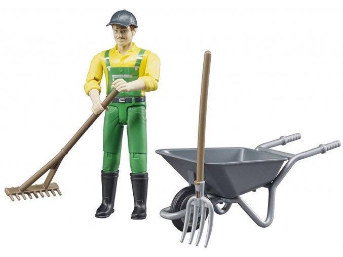 BRUDER 62610 Bworld Figurka Farmář s příslušenstvím