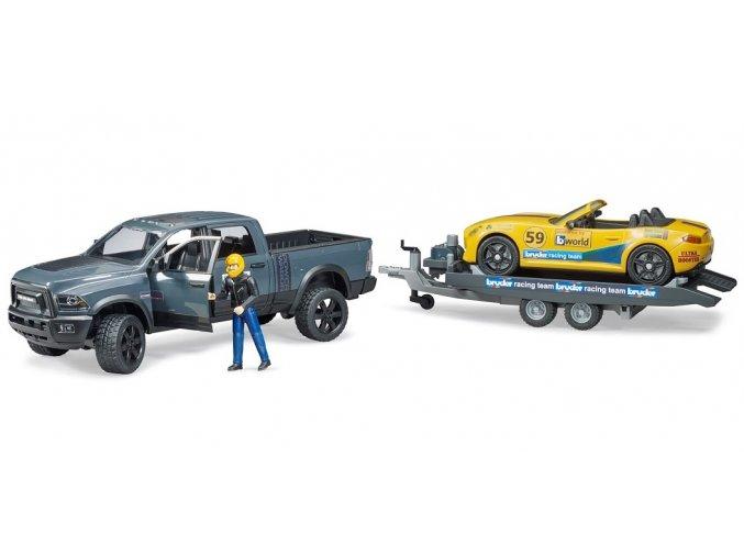 BRUDER 2504 Racing Team terénní auto RAM Power Vagon s přívěsem a závodním autem