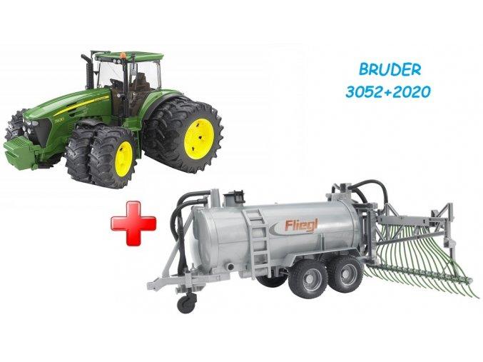 BRUDER 3052 Traktor John Deere 7930 s dvojitými koly + BRUDER 2020 Přívěs cisterna s postřikovačem FLIEGL