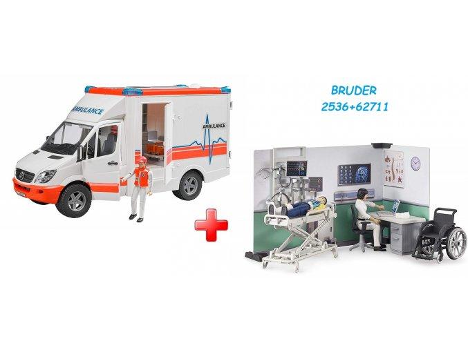 BRUDER 2536 MERCEDES BENZ Sprinter sanitka s figurkou + BRUDER 62711 Lékařská ordinace s figurkami