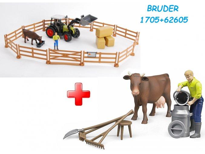 Bruder 1705 Zemědělský set + BRUDER 62605 Bworld Zemědělský set - kráva, muž a příslušenství