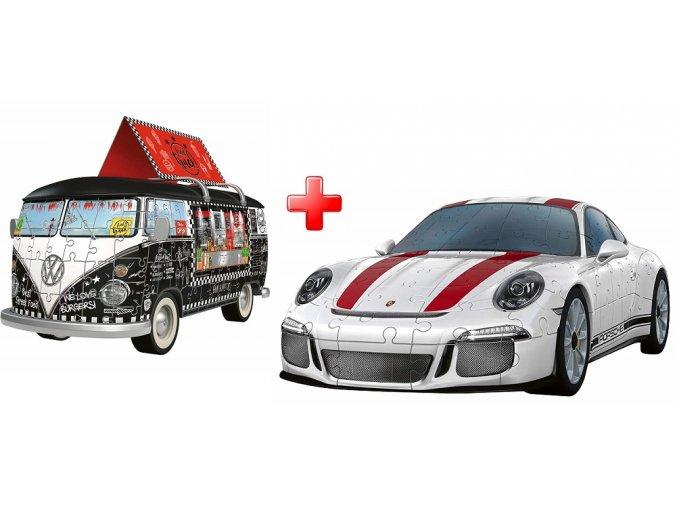 Sada 3D puzzle Porsche 911 + VW Autobus černý