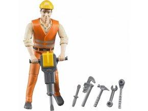 BRUDER 60020 Bworld Figurka stavební dělník s příslušenstvím