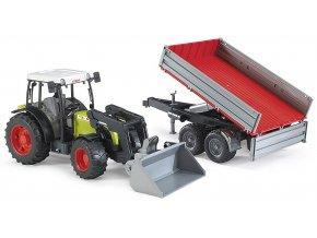 BRUDER 2112 Traktor Claas Nectis 267F s nakladačem a přívěsem