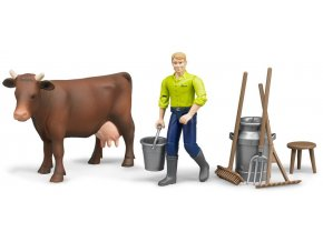 BRUDER 62605 Bworld Zemědělský set - kráva, muž a příslušenství