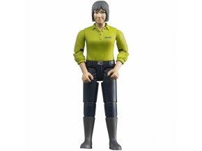 BRUDER 60405 Bworld Žena tmavé kalhoty, zelená košile