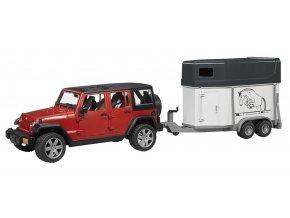 BRUDER 2926 Jeep Wrangler Unlimited Rubicon s přívěsem na koně a kůň