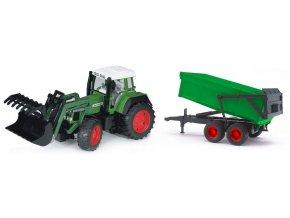 BRUDER 1169 Traktor Fendt Vario 926 s přívěsem a přední lžící