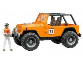 BRUDER 2542 Závodní Jeep Cross Country oranžový se závodníkem