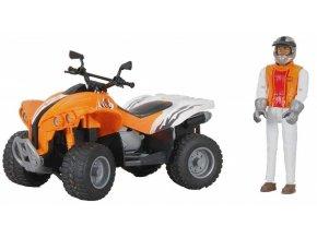 Bruder 9032 Čtyřkolka sportovní oranžovo/bílá s figurkou