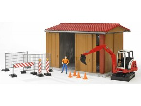 BRUDER 62020 Bworld Garáž + zábrany + stroj 02432 + figurka