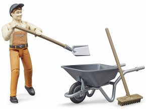 BRUDER 62130 Bworld Figurka Komunální pracovník s kolečkem a nářadím