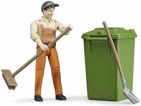 BRUDER 62140 Bworld Figurka Popelář s popelnicí a nářadím