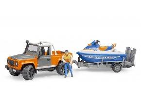 BRUDER 2599 Land Rover s přívěsem, vodním skútrem a figurkou