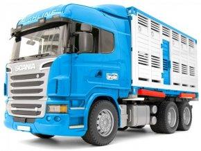BRUDER 3549 Přepravník zvířat Scania R s figurkou krávy