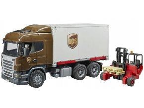 BRUDER 3581 Scania R UPS logistik s vysokozdvižným vozíkem