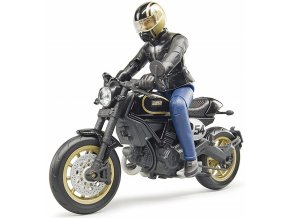 BRUDER 63050 BWORLD Motocykl Scrambler Ducati Cafe Racer s jezdcem