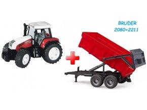 BRUDER 2080 Traktor STEYR CVT 170 + Bruder 2211 Valník s automatickou zadní stěnou červený