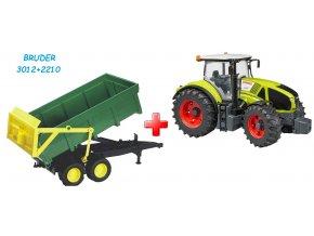 BRUDER 3012 Traktor Claas Axion 950 + BRUDER 2210 Přívěs s automatickou zadní stěnou zelený