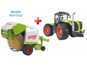 BRUDER 3015 Traktor Claas Xerion 5000 + BRUDER 2121 Balíkovač CLAAS Rollant 250