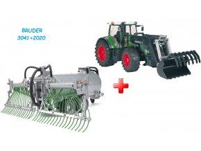 BRUDER 3041 Traktor Fendt 936 Vario + čelní nakladač + BRUDER 2020 Přívěs cisterna s postřikovačem FLIEGL