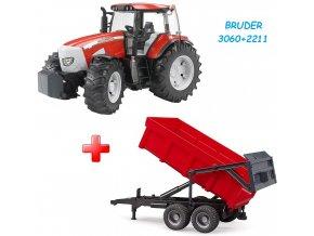 BRUDER 3060 Traktor McCormick XTX 165 + Bruder 2211 Valník s automatickou zadní stěnou červený