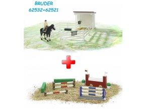 BRUDER 62521 Bworld Ohrada bílá + stáj + kůň + figurka ženy + BRUDER 62532 Bworld Překážky