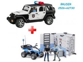 BRUDER 2526 Jeep Wrangler Rubicon Policie s figurkou policisty + BRUDER 62730 Policejní stanice s figurkami a čtyřkolkou