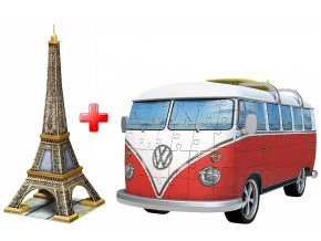 Sada 3D puzzle Eiffel + VW Autobus