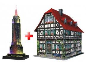 Sada 3D puzzle Empire State Building + Hrázděný dům