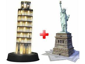 Sada 3D puzzle Pisa noční edice + Socha Svobody