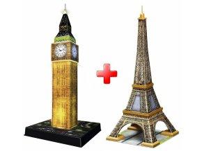 Sada 3D puzzle Big Ben noční edice + Effelova věž