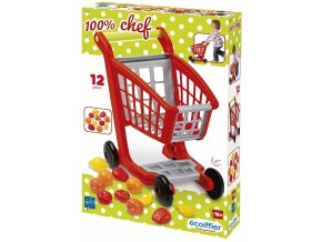 Ecoiffier nákupní vozík s příslušenstvím 41,5 x 41,5 x 29,5 cm