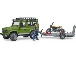 Bruder 2589 Land Rover s přívěsem, motocyklem a figurkou