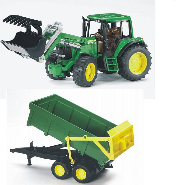 BRUDER 1134 Traktor John Deere 6920 s čelním nakladačem a vlekem