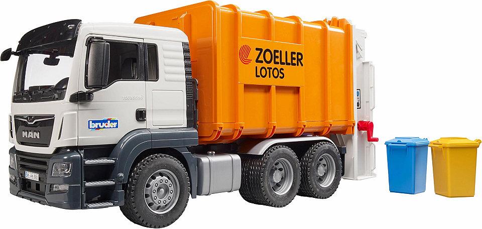 BRUDER 3762 Nákladní auto MAN TGS popelářské bílo-oranžové