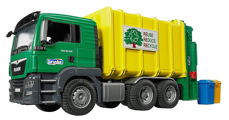BRUDER 3764 Nákladní auto MAN TGS - Popelář zelený