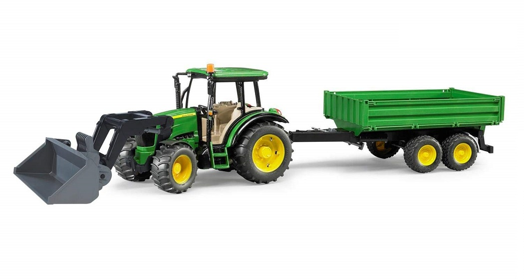 BRUDER 1793 Traktor John Deere 5115 s přívěsem a čelním nakladačem