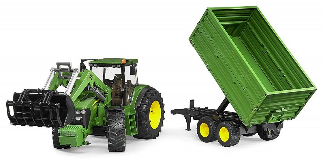 BRUDER 3055 Traktor John Deere 7930 s nakladačem a vlekem