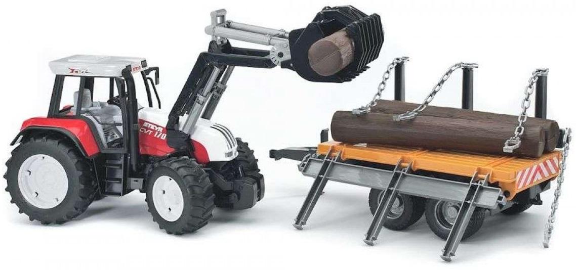 BRUDER 2088 Traktor Steyr s čelním nakladačem a valníkem